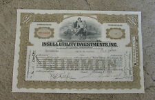 Antique 1931 Insull Utility Investments Stock Certificate Illinois