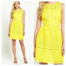 Sunny Yellow Cotton Size 20 Simply Fab Broderie Summer Skater DRESS Be Hols £49