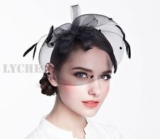 Black Mesh Feather Loop Fascinator Hatinator Hat Headband SpringRacing Millinery