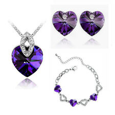 Crystal Jewellery Set Dark Purple Hearts Studs Earrings Necklace & Bracelet S308