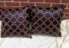 2 Black Accent Pillows Faux Leather Red Embroidery Throw Down Cushion 21 by 21""