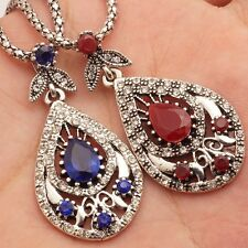 Wholesale 2 Pcs Red Blue Rhinestone Silver Plated Lady Pendants Chains Necklaces