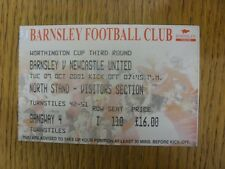 09/10/2001 Ticket: Barnsley v Newcastle United [Football League Cup] . Footy Pro