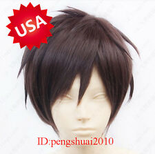 Hot Anime Attack On Titan Eren Jaeger Short Brown Cosplay Men Lady Full Hair Wig