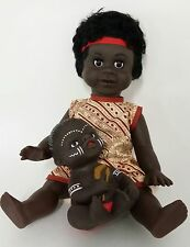 "Australian Aboriginal Doll Girl Yellow Dress 35cm or 13"" and Baby 15cm or 6"""