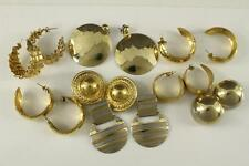 Vintage Costume Jewelry Variety Lot Gold Tone Metal Pierced & Clip Earrings