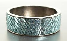 """Silver & Glitter 7.5"""" Hinged Bangle Bracelet with Magnetic Clasp"""