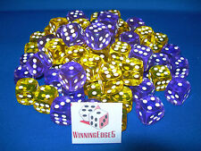 NEW 12 ASSORTED PURPLE AND YELLOW ACRYLIC DICE 16MM 2 COLORS 6 OF EACH COLOR