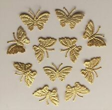 100 Bright Gold Glittery Fabric Butterfly Motifs- D I Y Card Scrapbook Sewing