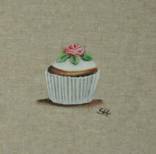 """Coupon """"cup cake fleur rose""""sur textile décoration d'intérieur motif patisserie"""