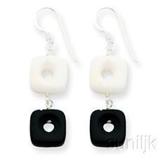 Sterling Silver Genuine Black Agate & White Jade Dangle Earrings