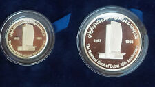 1998 Emirates UAE 50 & 25 Dirham Silver Coin 35 Years of National Bank of Dubai