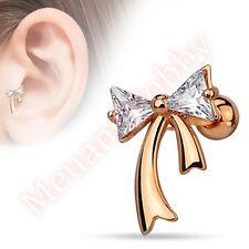 16G CZ Ribbon Cartilage Tragus Bar Ear Ring Piercing Stud Body Jewellery