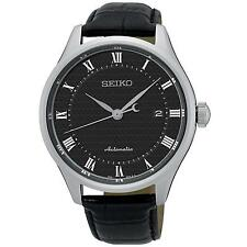 SEIKO MEN'S 42MM BLACK LEATHER BAND STEEL CASE AUTOMATIC ANALOG WATCH SRP769K2