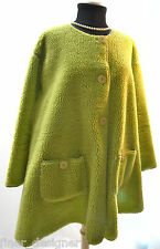 Vintage Anthropologie Faux Fur Green shearing Jacket Duster Coat button Swing M