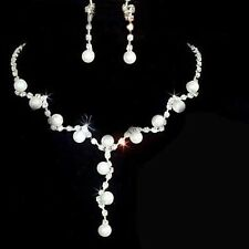 Bridal Wedding Jewelry Crystal Rhinestone Faux Pearl Necklace Earrings Set