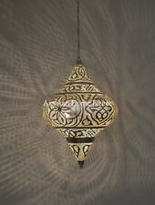 Handcrafted Moroccan Lantern Silver Plated Brass Ceiling Light Fixture Lamp
