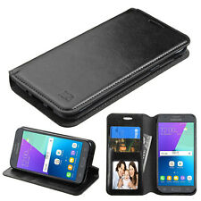 BLACK BOOK-STYLE FOLIO CASE W/CARD SLOT COVER FOR SAMSUNG GALAXY EXPRESS PRIME 2