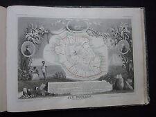 ancienne gravure de l'Ile Bourbon La Réunion- 50 par 36 cm - Levasseur - 1845