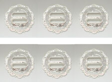 Set of 6 WESTERN HORSE TACK SADDLE BRIGHT SILVER ENGRAVED SLOTTED CONCHOS 1-1/4""