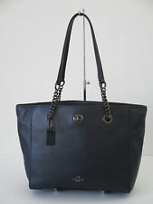 New Coach Turnlock Chain Tote Shoulder Handbag Navy Leather 57107