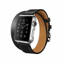 Premium Genuine Leather Double Tour Black Band Strap For Apple Watch iWatch 42MM