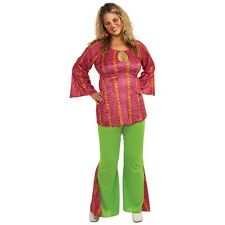 Hippie Costume Adult 60s 70s Plus Size Halloween Fancy Dress