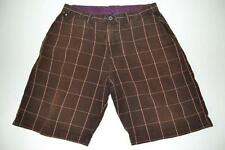 ELEMENT SKATE BROWN RED PLAID SKATEBOARD SHORTS MENS SIZE 34