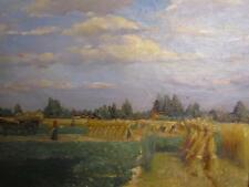 ANTIQUE HAY HARVEST GATHERS OIL PAINTING signed E.L.DURAND