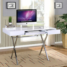 White Computer Desk For Home Office Workstation Keyboard Drawer Writing Table