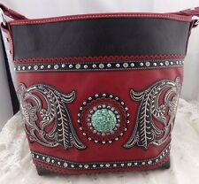 Montana West Red Faux Leather Tote Shoulder Bag Turquoise Chip Concho New