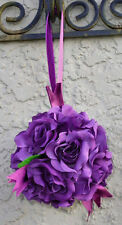 12 FLOWER BALLS ~ PURPLE LAPIS ~ Kissing Ball Pomander Wedding Flowers Pew Bows