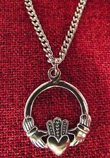 Claddagh Irish Celtic Love Valentine Pewter Stainless Steel Chain Necklace