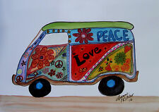"Original Hippie Van Peace Love colorful 5x7"" Painting by L Kohler"