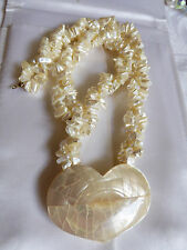 "WHITE MOTHER OF PEARL NUGGET SHELL HEART PENDANT TWO STRAND NECKLACE 20""L"