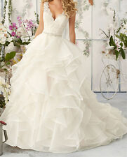 New White/Ivory Wedding Dress Bridal Gown Custom Size 4 6 8 10 12 14 16 18