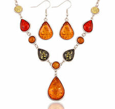 Crystal Resin Amber Bib Collar Pendant Necklace Earrings Fashion Jewelry Chain