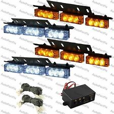 36 WHITE & AMBER LED Emergency Warning Strobe Lights Bars Deck Dash Grill Yellow
