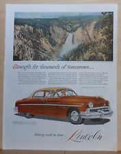 1951 magazine ad for Lincoln - Yellowstone Falls and 4-door Lincoln, colorful
