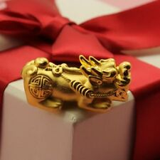 Real 24K Yellow Gold 3D Craved Lucky Gents Women Dragon Son Bless Pendant J.Lee