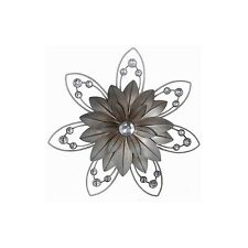 Metal Wall Art Silver Jewelled Blossom Flower Design