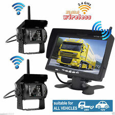 "2x Wireless IR Rear View Back up Camera System+7"" Monitor F Truck RV Car 12-24V"