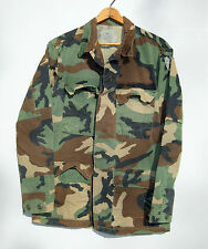 Vintage Camo Army Jacket Shirt Camouflage US Military Green Faded Bdu Small