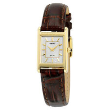 Ladies Seiko Solar Classic Square Brown Leather Band Gold Dial Watch SUP252