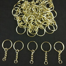 100x Wholesale Gold DIY 25mm Keyring Keychains Split Ring ShortChain Key Rings