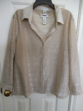 DRAPERS & DAMONS TWIN SET GOLD TEXTURED BLOUSE & LINED CAMI SIZE PETITE XL & L