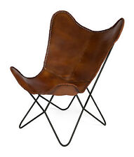 'CASA UNO' NEW Charlie Iron and Tan Leather Butterfly Chair  RRP$779.95