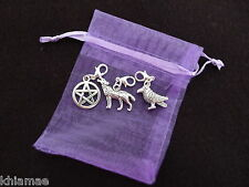 3 x Clip On Wiccan Bracelet Charms wolf pentacle raven pagan silver