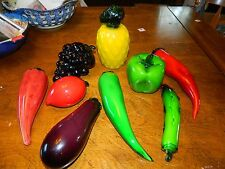 9 pc lot hand blown glass vegetables fruit pineapple pickle eggplant grapes
