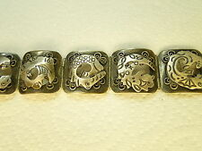 Vintage Anton Mexico Sterling Silver BRACELET Applied Mythical Fish Monster